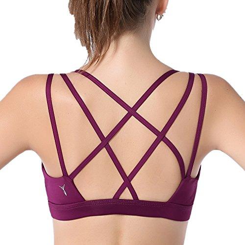 AIYIHAN Sport BH für Damen Yoga Running BH Starker Halt Gepolstert Rückenfrei BHs Lila