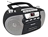 Karcher RR 5040-B Oberon tragbares CD-Radio (AM/FM, Kassette, AUX-In, Netz/Batteriebetrieb) schwarz