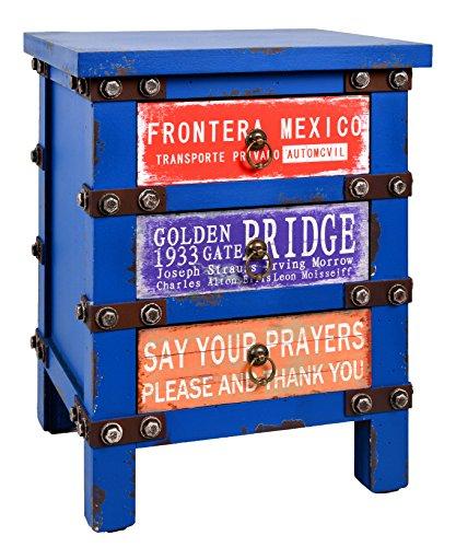 ts-ideen Container mesa de noche estantería cómoda de diseño estilo retro shabby industrial, color azúl