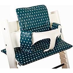 Coussin chaise haute Stokke Tripp Trapp Set ♥ Bleu pétrole Étoiles ♥ Facile à nettoyer