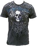 H D Custom Men–Camiseta de carbón vegetal gris charcoal Antracita Official Harley Davidson brillantes personalizada Gótico Calavera Rock Star Vintage costuras exterior Club VIP Diseño gris S