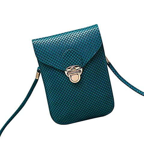 Contever® Mini Cross-body Shoulder Bags Phone Pouch Bag with PU Leather Shoulder Strap for Girls (Dark green)