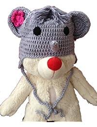 LadyMYP©Handgemachte Strickmütze, Babymütze, Kindermütze, Hüte, 100% Wolle, B39: Elefant