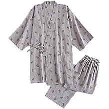 LUNA VOW Los hombres del estilo japonés de algodón fino albornoz pijamas Kimono Home traje traje