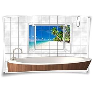 Fliesenaufkleber Fliesenbild Fliesen Strand Meer Sand SPA Deko Aufkleber Bad WC Dekoration Badezimmer, 90x60cm, 20x25cm (BxH)