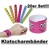 Lg-Imports 20x Klatscharmband Schnapparmband Armband Mitgebsel Tombola Geburtstag Smiley bunt