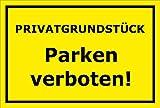 Melis Folienwerkstatt Schild - Privat-grundstück - Parken Verboten - 30x20cm | Stabile 3mm Starke PVC Hartschaumplatte – S00068-C +++ in 20 Varianten
