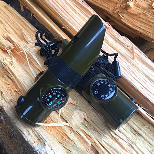 99native Militärische Notüberlebens-Pfeifen-Ausrüstung Kompass LED-Licht Thermometer Werkzeuge 7 in, Pfeifen, Thermometer, Kompass, LED-Lampe, Versiegelte Kabine, Lupe, Reflektor (Grün)