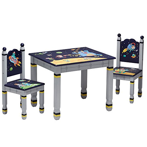 Fantasy Fields by Teamson Outer Space Childrens Wooden Kids Playtime Table & 2 Chair Set TD-12211SET