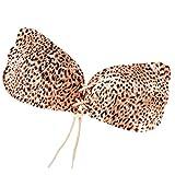 Yuncai Damen Gepolstert Push-up Klebe BHS Trägerlos Rutschfest Unsichtbar BH für Hochzeitskleid Leichter Leopard B