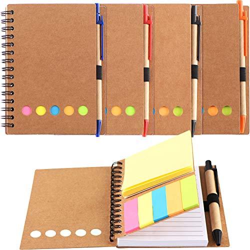 4 Stücke Spiral Notizbuch 280 Blätter mit Liniert Notizblock mit Klebrig Notizblöcke, Seiten Marker Farbige Index Tabs Fahnen und Stift im Halter (Stil 1) -