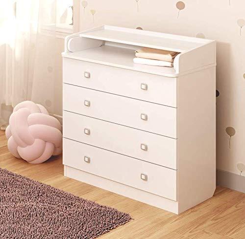 Baby Wickel-Kommode mit ausziehbarer Wickelauflage, 4 Scuhbladen Wickeltisch, Wickelkommode (Weiß)