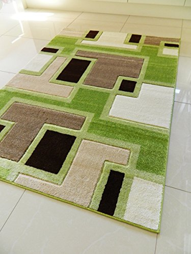 NEW SMALL MEDIUM XX LARGE MODERN GREEN BROWN BEIGE CREAM CARVED QUALITY  HALL RUNNER LIVING ROOM MAT CHEAP BEDROOM OFFICE SOFT RUG (160 X 225 Cms)
