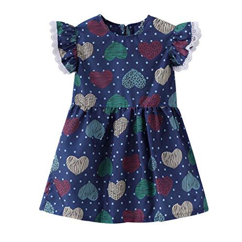 Tyoby kinderkleidung Mädchen Kleid Ärmelaufdruck mit Fruchtstickerei Baby Mädchen Prinzessin Rock(Marine,100)