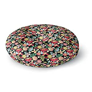 26 Round Floor Pillow Kess InHouse DLKG Design Flower Power Gold Black