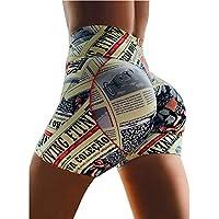 DDL Pantalón Corto Deportivo Yoga, Estiramiento de Running de Cintura Alta elevación Caderas Caderas Tight Pantalones Cortos para absorción de Humedad,XL