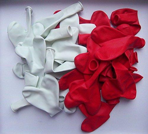 100 globos con forma de corazón, producto UE, color rojo y blanco