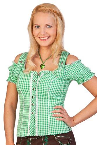 Trachten Bluse - PILLA - rot, grün, Größe 40