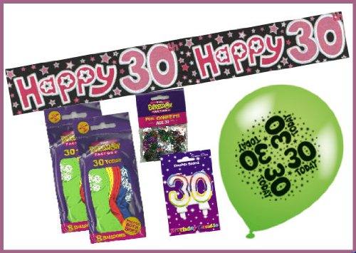 Weiblich 30. Geburtstag Party Pack–Enthält Party Banner, Doppel Zahlen Rainbow Kerze, Zahl Konfetti