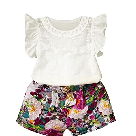 Oyedens Kids Baby Girls Floral Vest Tops Shirt Shorts Pants Set for 3-7 Years (6Years)
