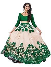 d81e5ae09 Bhurakhiya Women s Embroidered Green Semi Stitched Lehenga Choli With  Blouse Piece (Green FreeSize JK5)