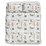 O4EC2-8 Tier Schwein Kaninchen Tagesdecken-Tröster-Sets 3-teilig Bettbezüge - Lichtbeständig Boho Bettwäscheset White 264x229cm