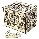 XLGX Boîte de Cartes de Mariage Rustique Creuse en Bois avec Verrou et Panneau de Carte pour Mariage et Fêtes Prénatales (B)