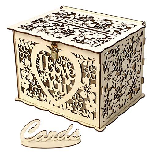 VICKY-HOHO Hochzeitskarte mit Schloss DIY Geld aus Holz Geschenkboxen für Geburtstagsfeier,Wedding Card Box with Lock DIY Money Wooden Gift Boxes for Birthday Party (B)