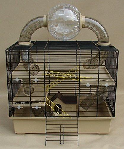 Nagerkäfig,Hamsterkäfig,Zwerghamsterkäfig, Rocky,Teddy Lux,Hamster,Maus,Nager,Käfig,Mäusekäfig incl. Röhrensystem Ball Oskar in beige