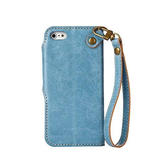 YHUISEN iPhone SE 5S Fall, Luxus Retro Rose Premium PU Leder Magnetverschluss Flip Wallet Schutzhülle mit Lanyard für iPhone SE / 5S / 5 ( Color : Blue ) Blue
