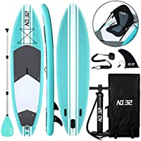 Tabla Hinchable de Paddle Surf + SUP Paddle Remo de Ajustable | Bomba | Mochila | Aleta Central Desprendible | Kit de Reparación | Asiento de Kayak y Surf Leash(300*83*15cm Grosor, Carga Hasta: 350kg)