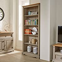 Home Source Corona Grey Tall Pine Bookcase 5 Book Shelves Mexican Solid Wood Living Room