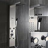Auralum Edelstahl Duschpaneel Wellness Luxus Duschamatur Duschsystem Regendusche Wasserfall Handbrause mit Massagendüsen