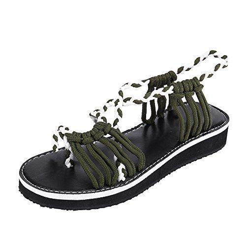 Damen Sandalen Sommer Flip Flops Böhmische Stil Flache Schuhe Roman Runde Kopf Knöchelriemen Geflochtene Sandalen Flats Thong Strand Hausschuhe (Size:40/EU:39, Armeegrün)