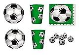 koordinierten Kinder Sport Fußball-Geburtstag Ereignisse Dekorationen Tisch Party–Kit N ° 11cdc- (30Teller, 30Gläser, 32Servietten, 6Kerzen Form Fußball)