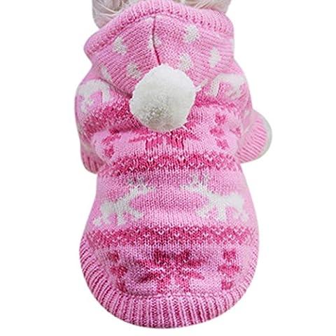 KanLin Haustier Hund Hoodie Strick Pullover Welpen Mantel Kleider Kleine Warm Kostüm (L, Rosa) (Hund Tragen Weihnachten Kostüm)
