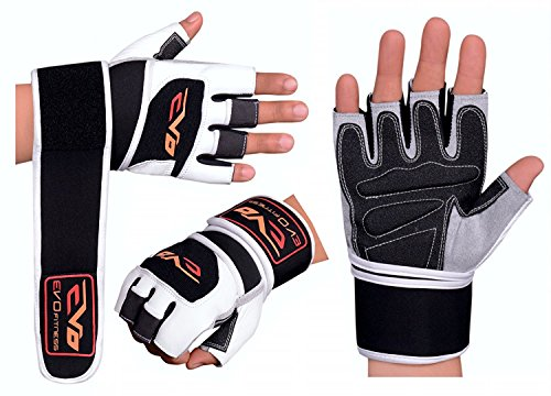 EVO Fitness Leder- Gewichtheben Fitness-Handschuhe Neopren Handgelenkstütze Tücher Riemen Bodybuilding Rollstuhl Fahrradhandschuh - Small
