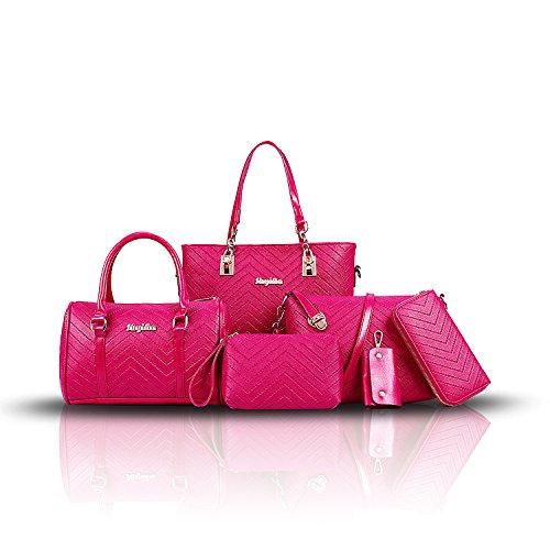 Sunas Borsa semplice del bambino del sacchetto di spalla della borsa delle borse delle nuove donne di modo 2017 6 insiemi di borsa diagonale della borsa delle borse delle donne Rosa rossa