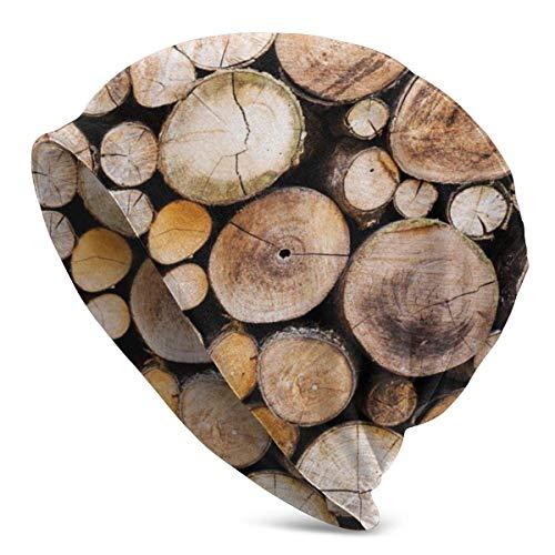 setyserytu Beanie Caps/Strickmütze Skull Cap, Growth Ring Rustic Wooden Logs Circular Slouchy Cuff Skull Knit Hat Cap Winter Summer Warm Ski HatsBlack -