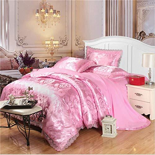 ts Jacquard Königin King Size Bettbezug Set Hochzeitsbettwäsche Bettwäsche Bettbezug Rosa 150x200cm ()
