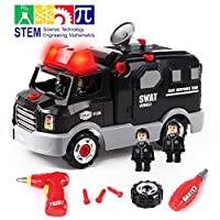 GILOBABY Take Apart Toys Police Racing Car, Toys DIY, STEM Toys 32 PCS Build On Your Own Car Toys with 4 Policemen, Kids Drills Tool Toys for 3, 4, 5, 6 Year Old Boys Girls, Toys with Lights& Sound