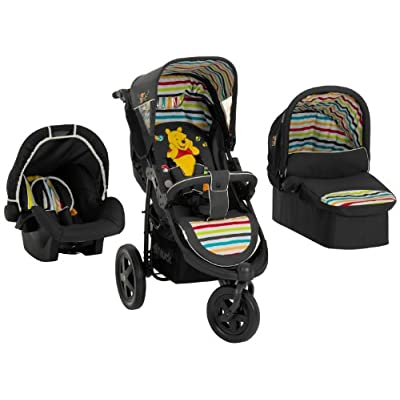 Hauck Disney Baby Viper Trio Set Travel System, from Birth to 15kg, Pooh Tidy Time (Car Seat, Carry Cot, 3 Wheel and Raincover)