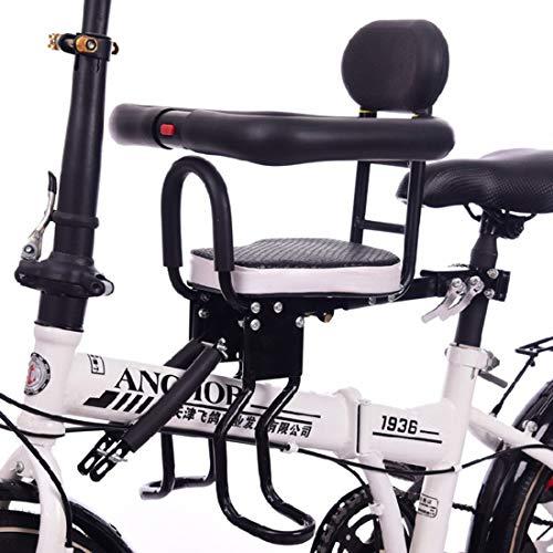 PHYNEDI Seggiolino Anteriore per Bicicletta Bambino Sella per Bici con Poggiapiedi Sbarre di Sicurezza per Mountai Bike/Bicicletta Elettrica, Supporti Fino a 40kg
