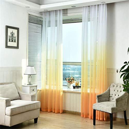 MMLsure® Farbverlauf Gardine,Schürzen Tüll Voile Tür Fenster Gradient Vorhang, Voile transparent,Tuch Teiler Dekor,Ösenschal Deko Ösen Schlaufen Schal Vorhang,100 * 200cm,1pc (Orange)