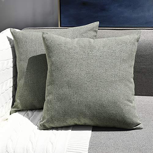 Sunfay Zierkissenbezüge 2er Set 45 x 45 cm Kissenbezug Baumwolle Leinen Home Décor Dekorative Kissenhülle für Sofa Bett Schlafzimmer Weiche Solide Grün Grau
