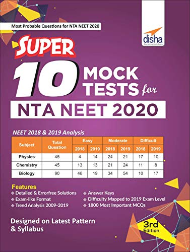 Super 10 Mock Tests for NTA NEET 2020 - 3rd Edition