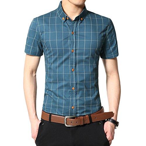 Zicac Uomo Slim Fit Cotone Sottile Camicia Estate Manica Corta Camicia A Quadri