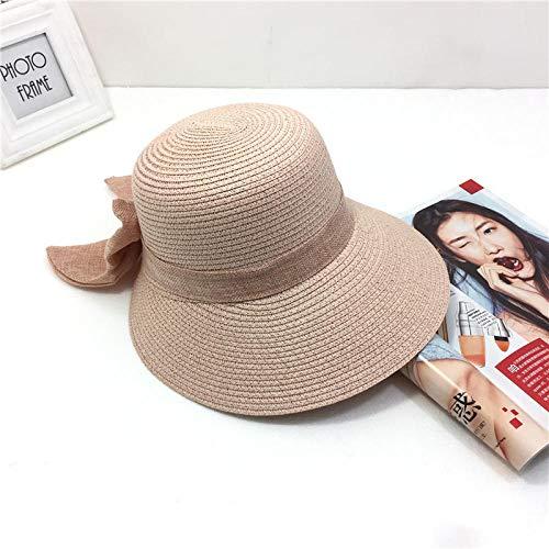 WGYXM Hut, Sonnenschutzstrohhut der Damen im Freien, Sommerbogenstrandsonnenschutzhut - Puder