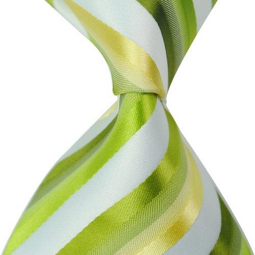 st mit grün gelb und weiß gestreiften Seidenkrawatte gebunden. (Grüner Pfeil Anzug)