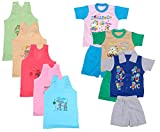 Indistar Boys Pure Cotton Baba Suit (T-Shirt and Bottom) (Pack of 3)- (Assorted Color/Print) And Girls Pure Cotton Cartoon Print Slips/Vests (Pack of